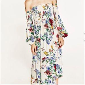 Zara Floral Maxi Off-Shoulder Dress